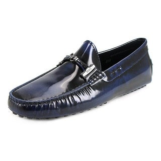 Tod's Doppia T Pelle Gommini Nuovo Men Patent Leather Blue Moccasins