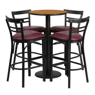 Offex 24'' Round Natural Laminate Table Set with 4 Ladder Back Metal Bar Stools - Burgundy Vinyl Seat [OF-RSRB1039-GG]