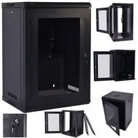Costway 18U Wall Mount Network Server Data Cabinet Enclosure Rack Glass Door Lock w/ Fan - black