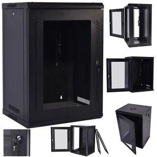 Costway 18U Wall Mount Network Server Data Cabinet Enclosure Rack Glass Door Lock w/ Fan - Black