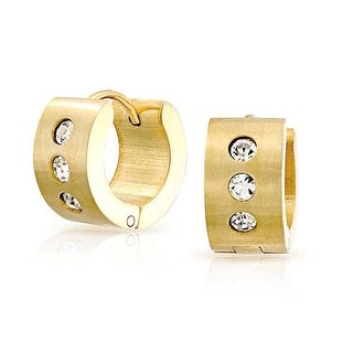 Bling Jewelry Mens Grooved Gold Plated Steel CZ Small Hoop Hoop Earrings