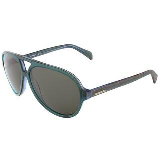 Diesel DL0075/S 98N Clear Teal Teardrop Aviator sunglasses