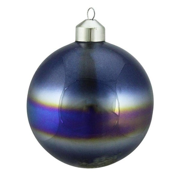 "4"" Winter Light Elegant Blue Marblized Glass Ball Christmas Ornament"