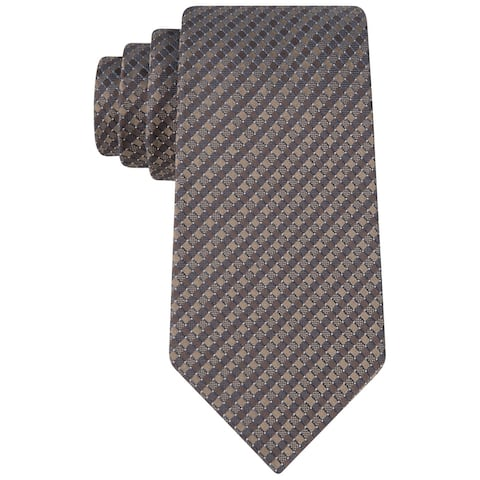 Kenneth Cole Mens Natte Self-tied Necktie, brown, One Size - One Size