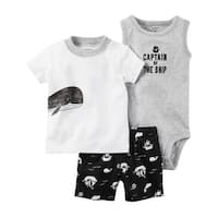 Carter's Baby Boys' 3 Piece Babysoft Short Set, 3 Months - captain of the ship