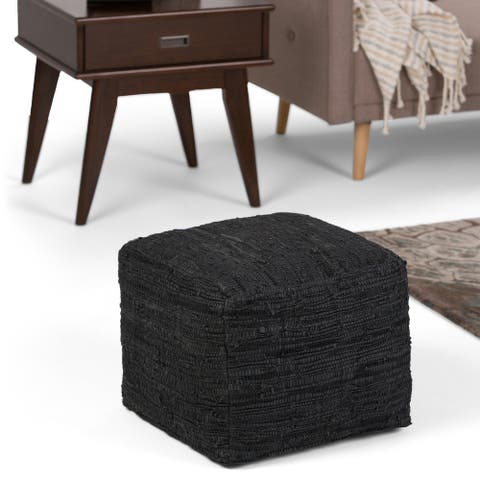 WYNDENHALL Garcia Boho Square Pouf in Woven Genuine Leather