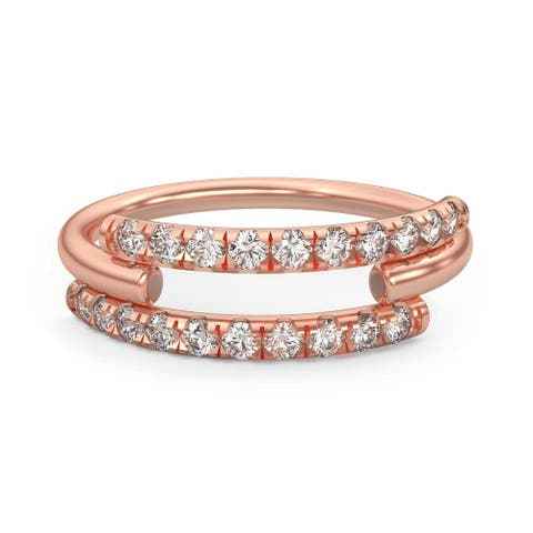 Triple Row 14K Gold 0.35 ct. Split Lab Diamond Ring