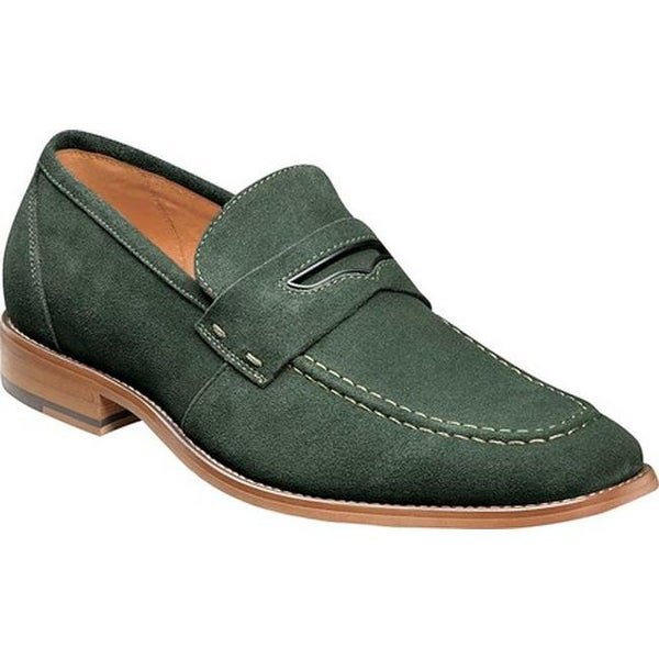 4a3d0331696 Shop Stacy Adams Men s Colfax Moc Toe Penny Loafer Dark Green Suede - On  Sale - Free Shipping Today - Overstock - 22866179