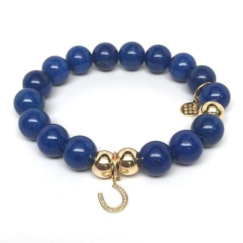 Julieta Jewelry Horseshoe Charm Blue Jade Bracelet
