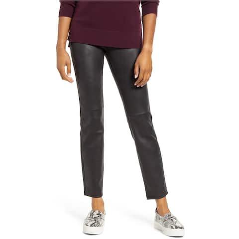 HUE Womens Textured Microsuede Casual Leggings, black, Medium