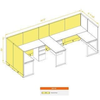 Commercial Office Furniture 53H 2pack Bullpen Powered (5x6 - White Desk White Paint - Assembled)