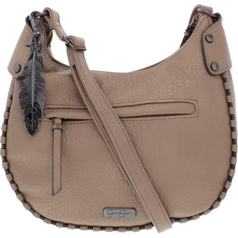 Jessica Simpson Womens Selena Crossbody Handbag Faux Leather Embellished - Natural - Medium