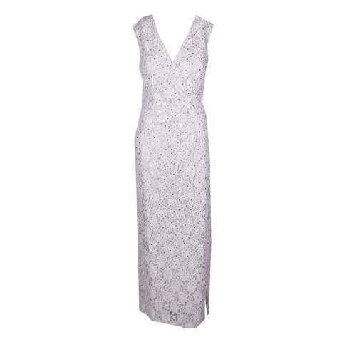Connected Champagne Sequined Lace Column Floor Length Sleeveless Faux Wrap Gown