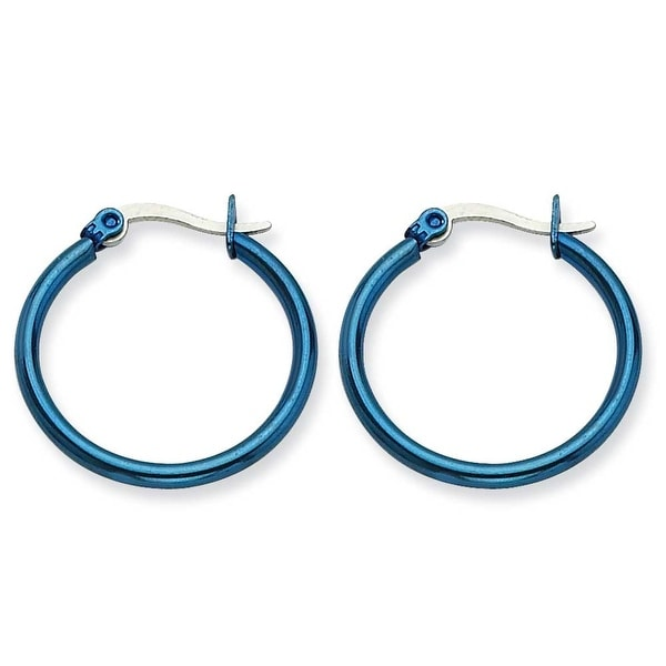 Chisel Stainless Steel Blue 26mm Hoop Earrings
