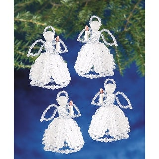 "Holiday Beaded Ornament Kit-Caroling Angels 4"" Makes 4"