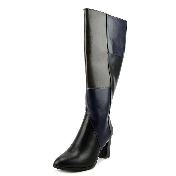 New York Transit Must Haves Wide Calf Women Leather Black Knee High Boot
