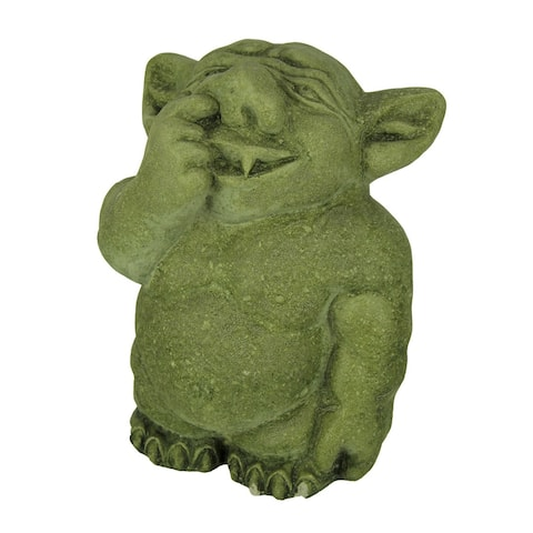Adorable Nose Picking Troll Mossy Green Concrete Garden Statue - 7.75 X 6 X 4.25 inches