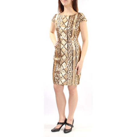 Womens Gold Cap Sleeve Above The Knee Sheath Party Dress Size: 12