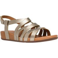 FitFlop Women's Lumy Gladiator Wedge Sandal Pale Gold Metallic Leather