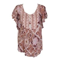 b3011fa3 Shop Style & Co Plus Size Ivory Red Printed Button Down Shirt 0X ...