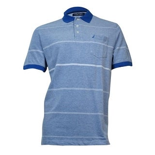 Nautica Men's Striped Collared Cotton Polo L, Nautica Blue - L