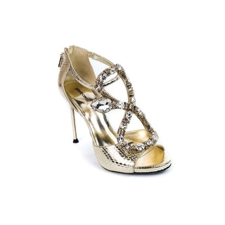 Roberto Cavalli Womens Gold Leather Serpent Ayers Sandal