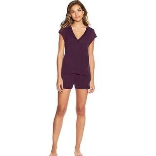 Maidenform V-Neck Shorts Set - Color - Potent Purple - Size - XL
