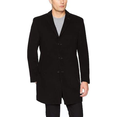 Calvin Klein Black Mens 40R Slim Fit Wool Blend Overcoat Jacket