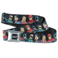 Justice League Superheroes Faces Seatbelt Belt-Holds Pants Up