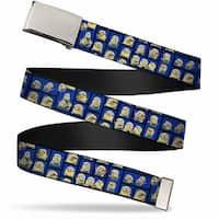 Blank Chrome  Buckle Minions Posing Blocks2 Blue Webbing Web Belt