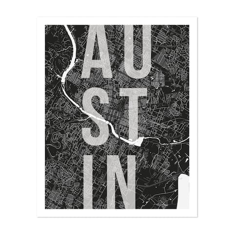 Austin Texas Maps Minimal Unframed Wall Art Print/Poster