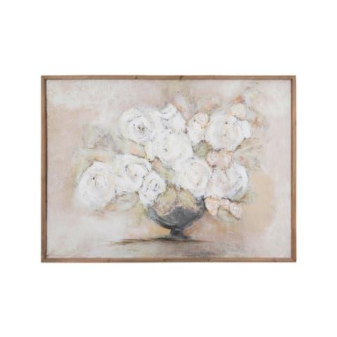 White Flowers in Vase Wood Framed Wall Decor