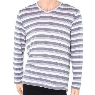 Alfani NEW Gray Men Size XL Striped Textured V-Neck Lightweight Sweater