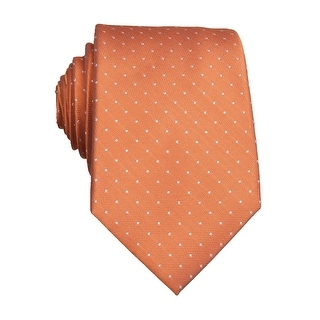 Perry Ellis Dotted Slim Silk Neck Tie Coral Orange - One Size Fits most