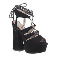 Luichiny Women's Try This On Platform Sandal Black Imi Suede