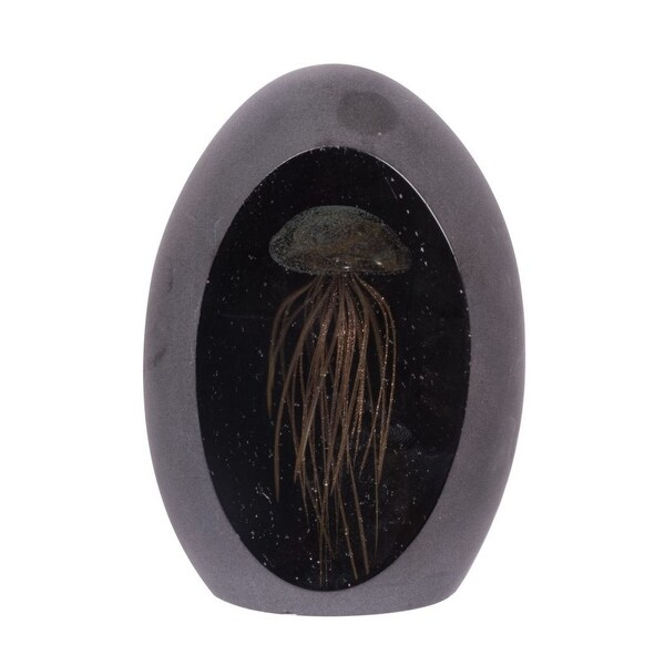 """4.75"""" Gold and Black Jellyfish Glass Egg Accent - N/A"""