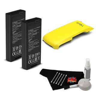 Ryze Tech Battery for Tello + Ryze Tech Snap-On Cover for Tello (Yellow) + Deluxe Cleaning Kit + MicroFiber Cloth Bundle
