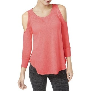 Calvin Klein Women's Performance Cold-Shoulder Top Pink, Size Small - Grey - xs