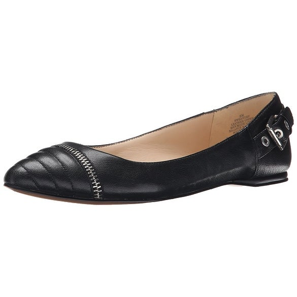 Nine West Womens Savory Leather Pointed Toe Loafers