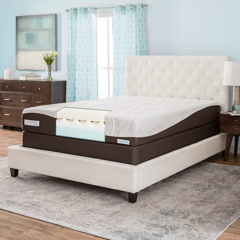 ComforPedic from Beautyrest 10-inch Gel Memory Foam Mattress Set - White/Brown