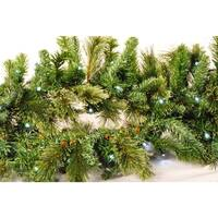 Christmas at Winterland WL-GARBM-09-LPW 9 Foot Pre-Lit Pure White LED Blended Pine Garland Indoor / Outdoor