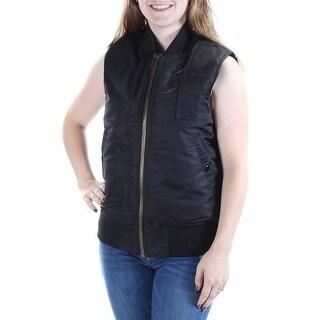 RACHEL ROY $119 Womens 1085 Black Puffer Sleeveless Zip Neck Vest Top S B+B