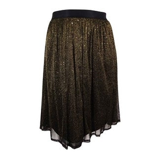 NY Collection Women's Elastic Waist Sparkle Midi Skirt