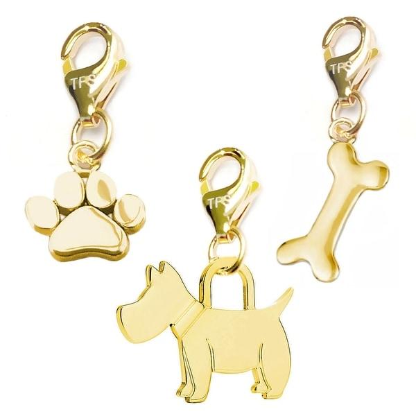 Julieta Jewelry Scottie Dog, Paw, Dog Bone 14k Gold Over Sterling Silver Clip-On Charm Set