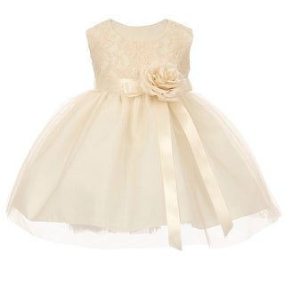 Baby Girls Ivory Two Tone Lace Satin Ribbons Corsage Flower Girl Dress 6-24M