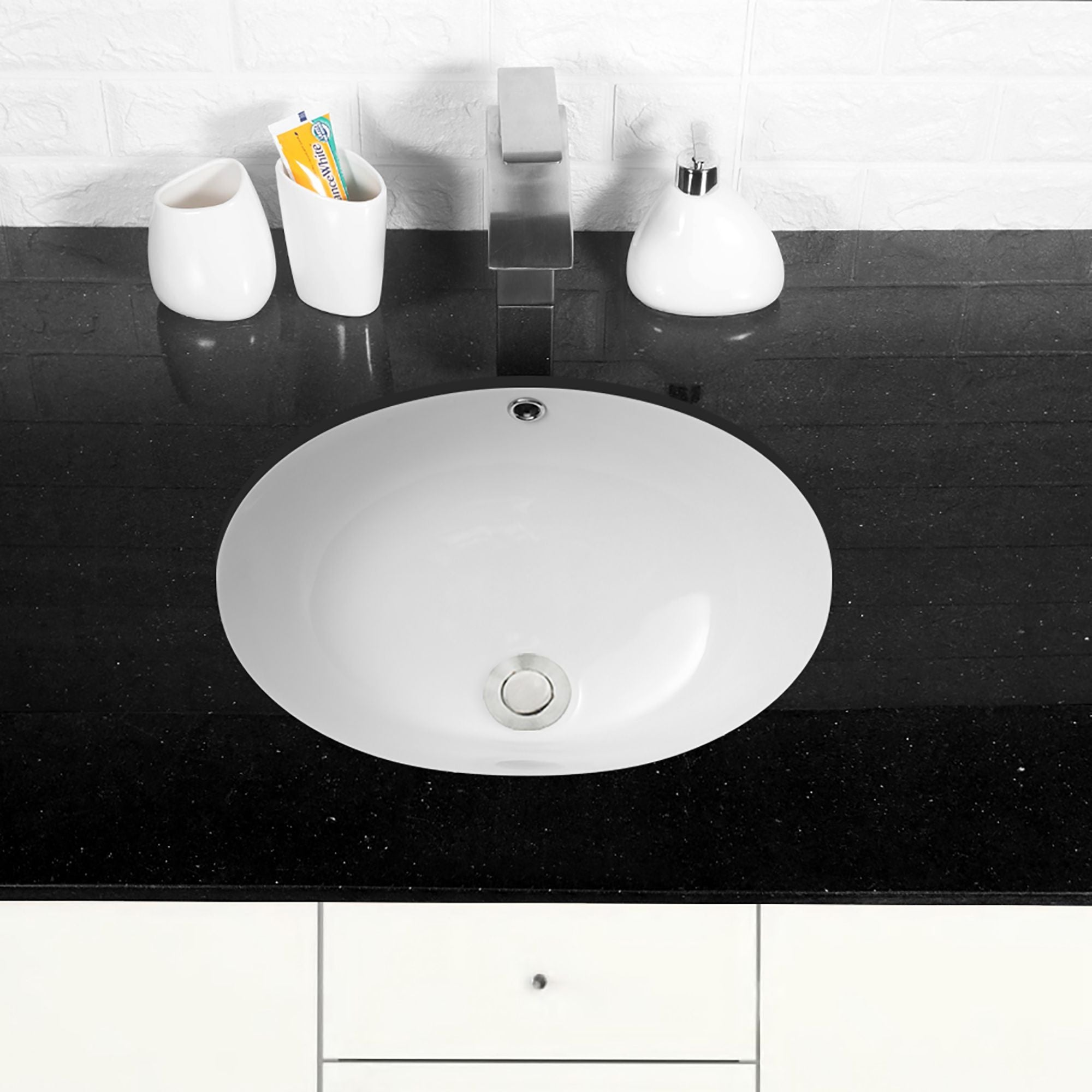 White Ceramic Handmade Oval Undermount Bathroom Sink With Overflow Overstock 31633475