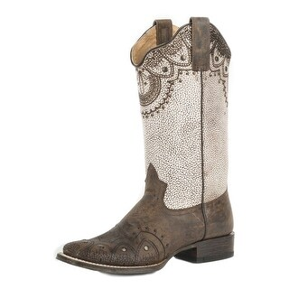 Roper Western Boot Womens Burnished Laser Stud Tan