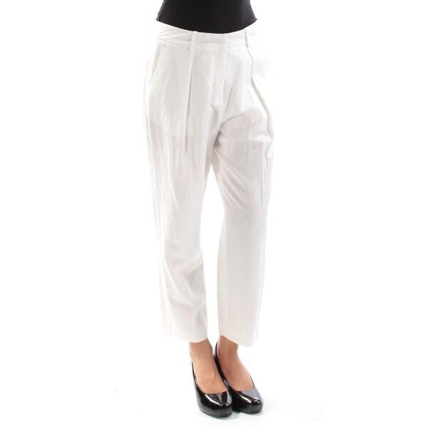ANNE KLEIN Womens White Cropped Straight leg Pants Size: 2