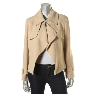 Anne Klein Womens Tweed Crop Trench Coat