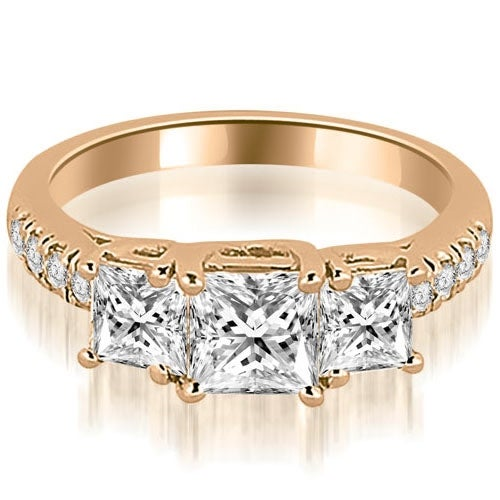1.30 cttw. 14K Rose Gold Lucida Three-Stone Princess Cut Engagement Ring
